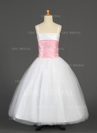 Elegant Straps Ball Gown Flower Girl Dresses Floor-length Tulle/Charmeuse Sleeveless (010014628)