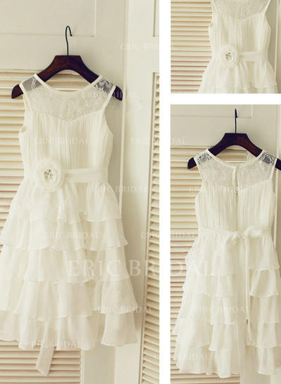 A-Line/Princess Scoop Neck Tea-length With Ruffles/Sash Chiffon Flower Girl Dresses (010211834)