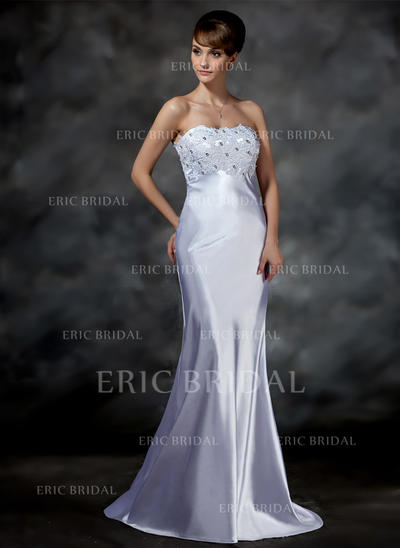 Trumpet/Mermaid Sweetheart Sweep Train Wedding Dresses With Lace Beading (002001615)
