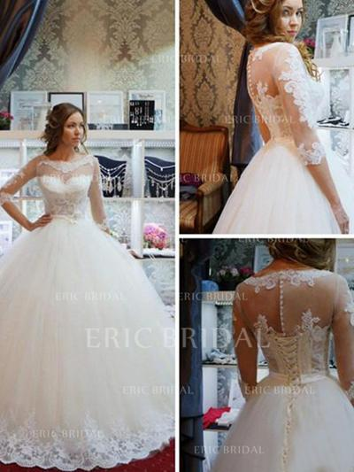 Scoop Ball-Gown Wedding Dresses Tulle Appliques Lace Half Sleeves Sweep Train (002213513)