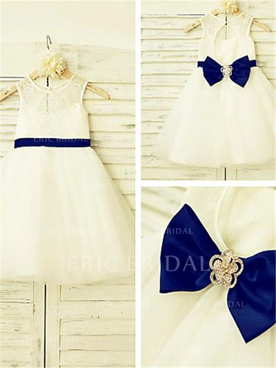A-Line/Princess Scoop Neck Tea-length With Bow(s) Tulle/Lace Flower Girl Dresses (010212038)