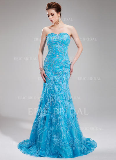 Trumpet/Mermaid Sweetheart Sweep Train Evening Dresses With Beading Feather Sequins (017019440)