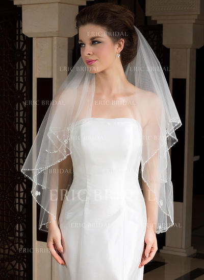 Fingertip Bridal Veils Tulle Two-tier Classic With Pencil Edge Wedding Veils (006151471)