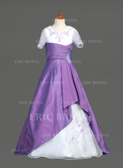 Modern Scoop Neck A-Line/Princess Flower Girl Dresses Sweep Train Taffeta/Organza Short Sleeves (010005777)