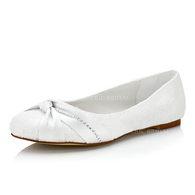 Women's Flats Flat Heel Lace With Ruffles Wedding Shoes (047206789)