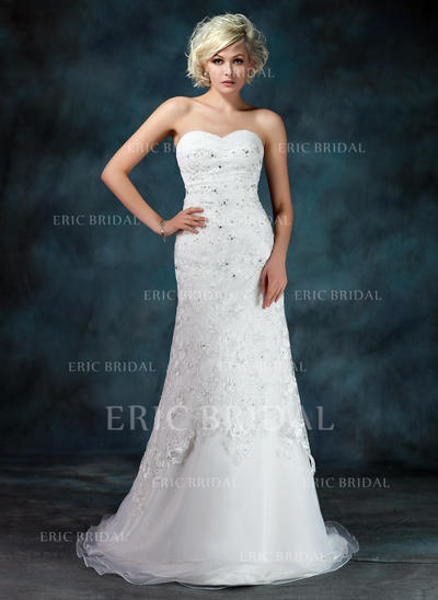 A-Line/Princess Sweetheart Court Train Wedding Dresses With Ruffle Beading Sequins (002000155)