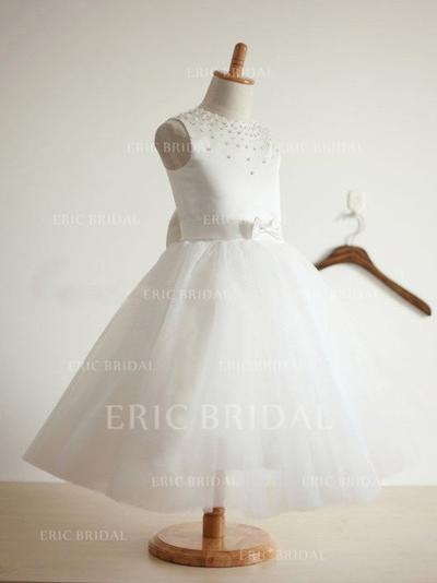 Ball Gown Scoop Neck Tea-length With Beading/Bow(s) Satin/Tulle Flower Girl Dresses (010211847)