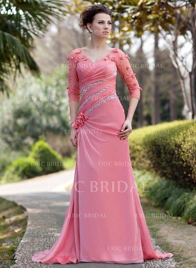 A-Line/Princess Chiffon 3/4 Sleeves V-neck Sweep Train Zipper Up Mother of the Bride Dresses (008211468)