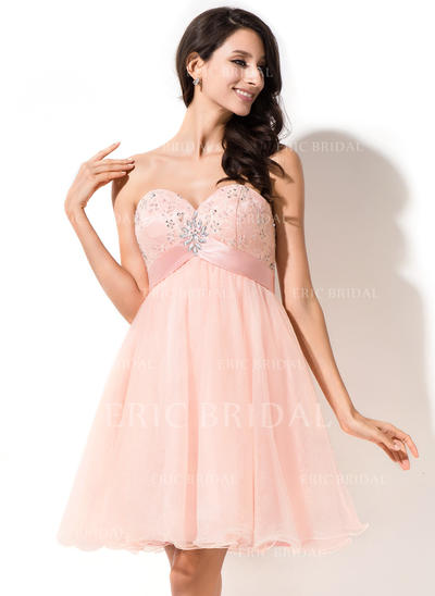 Empire Sweetheart Short/Mini Homecoming Dresses With Beading Sequins Bow(s) (022214033)
