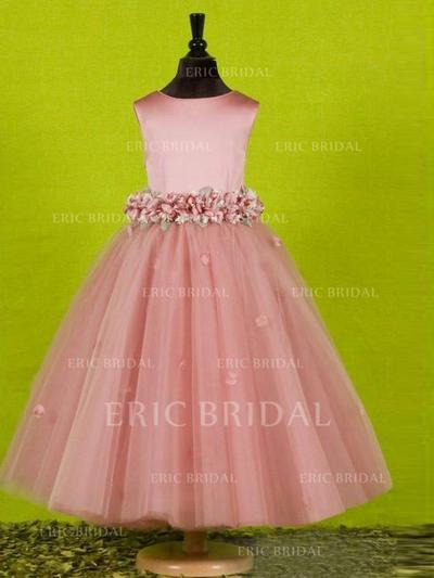 A-Line/Princess Scoop Neck Ankle-length With Bow(s) Tulle Flower Girl Dresses (010211751)