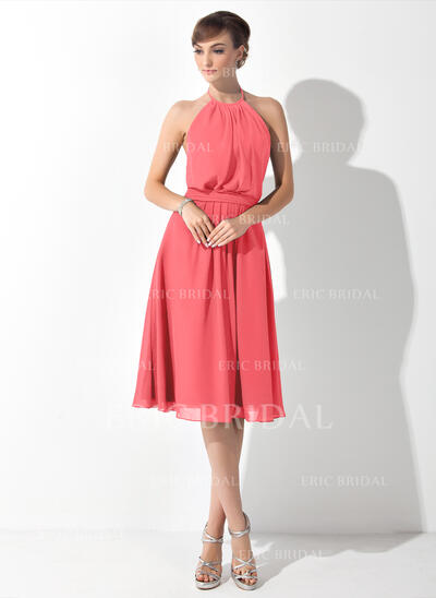 A-Line Halter Knee-Length Chiffon Bridesmaid Dress With Ruffle Bow(s) (007063021)