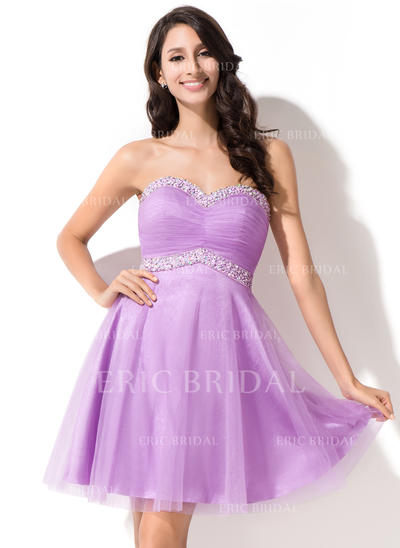 Empire Sweetheart Short/Mini Homecoming Dresses With Ruffle Beading Sequins (022214014)