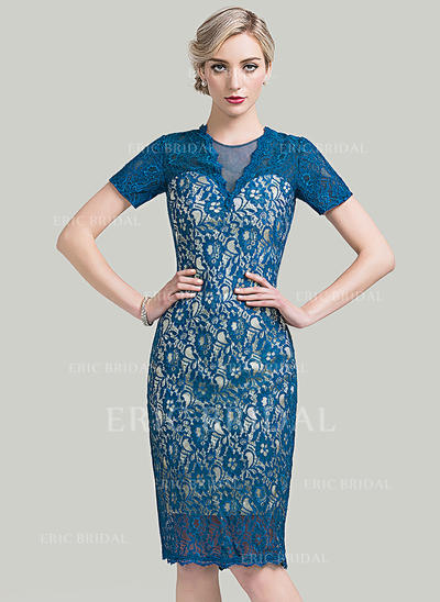 Sheath/Column Lace Short Sleeves Scoop Neck Knee-Length Zipper Up Mother of the Bride Dresses (008085276)