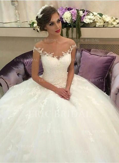Ball-Gown Tulle Lace Sleeveless Off-The-Shoulder Court Train Wedding Dresses (002146261)
