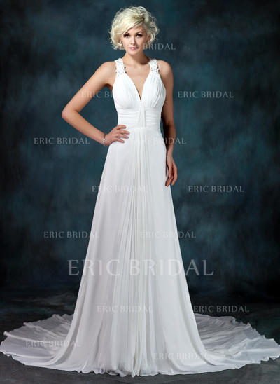 A-Line/Princess Sweetheart Chapel Train Wedding Dresses With Ruffle Beading Appliques Lace (002001675)