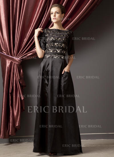 A-Line/Princess Charmeuse 1/2 Sleeves Scoop Neck Floor-Length Zipper Up Mother of the Bride Dresses (008211349)