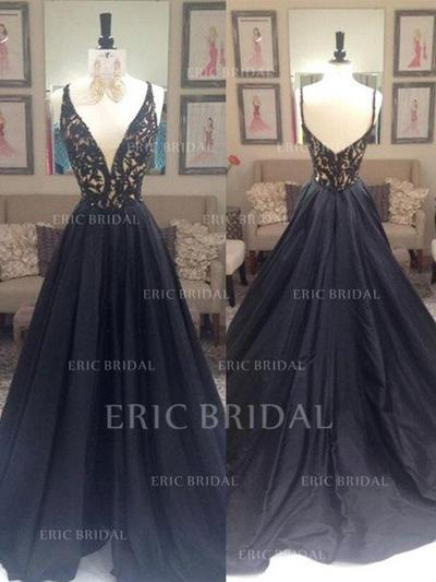 A-Line/Princess Taffeta Prom Dresses Beading V-neck Sleeveless Sweep Train (018210201)