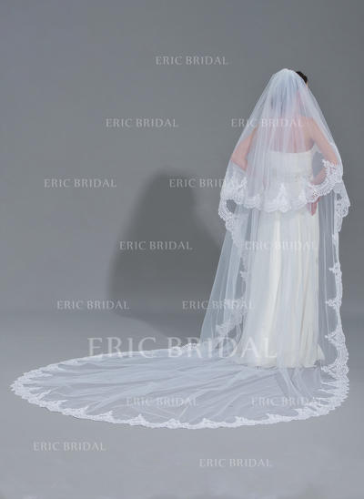 Cathedral Bridal Veils Tulle Two-tier Oval With Lace Applique Edge Wedding Veils (006152207)