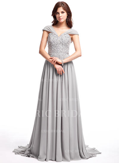 A-Line/Princess Chiffon Prom Dresses Ruffle Lace Beading Sequins V-neck Sleeveless Sweep Train (018025308)