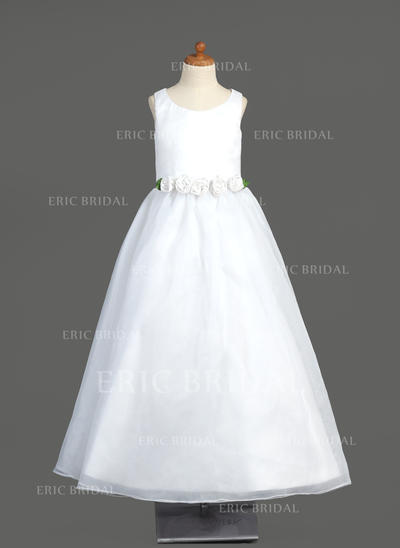 Stunning Scoop Neck A-Line/Princess Flower Girl Dresses Floor-length Organza Sleeveless (010005904)