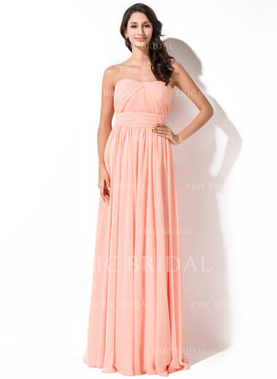 A-Line Sweetheart Floor-Length Chiffon Bridesmaid Dress With Ruffle (007055005)