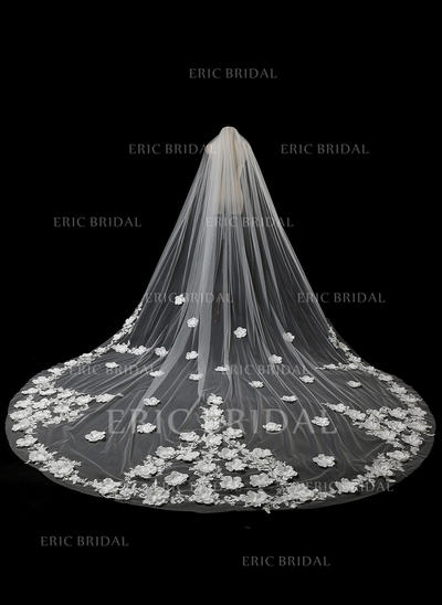 Cathedral Bridal Veils Tulle/Lace One-tier Oval With Lace Applique Edge Wedding Veils (006152267)