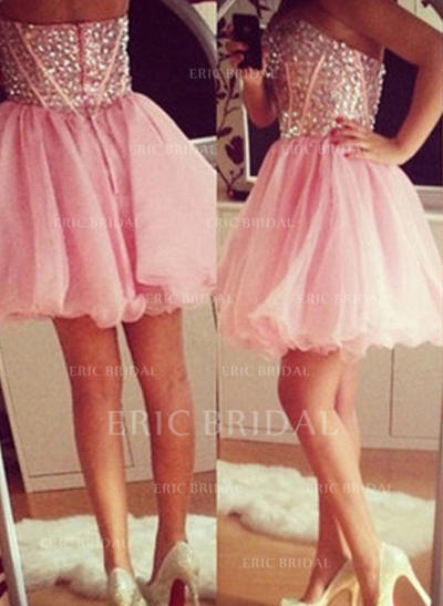 A-Line/Princess Sweetheart Short/Mini Homecoming Dresses With Beading (022212329)