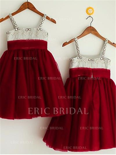 A-Line/Princess Square Neckline Knee-length With Beading Tulle Flower Girl Dresses (010211908)