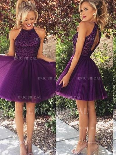 A-Line/Princess Scoop Neck Short/Mini Tulle Homecoming Dresses With Beading (022212253)