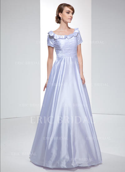 A-Line/Princess Off-the-Shoulder Floor-Length Evening Dresses With Ruffle (017022531)