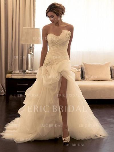 Sheath/Column Sweetheart Court Train Wedding Dresses With Ruffle Beading Sequins (002144861)