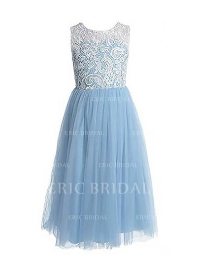 A-Line/Princess Scoop Neck Floor-length With Pleated Tulle/Lace Flower Girl Dresses (010211792)