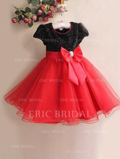 A-Line/Princess Scoop Neck Knee-length With Bow(s) Tulle/Sequined Flower Girl Dresses (010211917)