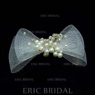 """Combs & Barrettes Wedding/Special Occasion Imitation Pearls/Tulle 3.94""""(Approx.10cm) 1.97""""(Approx.5cm) Headpieces (042153078)"""