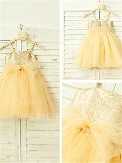 A-Line/Princess Square Neckline Knee-length With Sequins Tulle/Sequined Flower Girl Dresses (010212024)