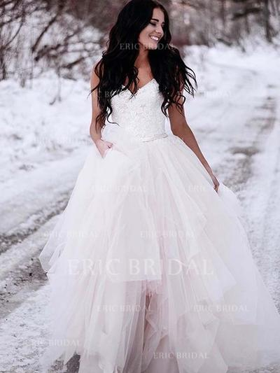 V-neck Ball-Gown Wedding Dresses Tulle Ruffle Lace Sleeveless Sweep Train (002213529)