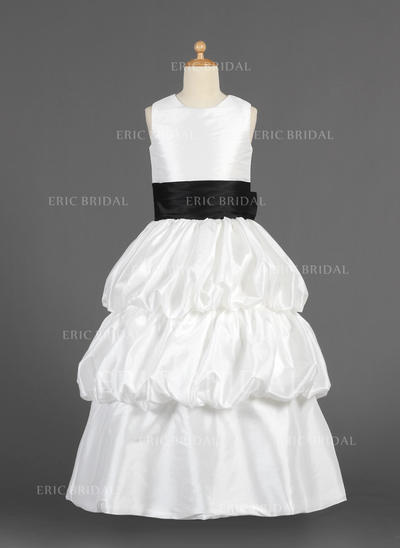 Delicate Scoop Neck A-Line/Princess Flower Girl Dresses Floor-length Taffeta Sleeveless (010014629)