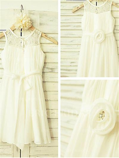 A-Line/Princess Scoop Neck Ankle-length With Flower(s) Chiffon Flower Girl Dresses (010212028)