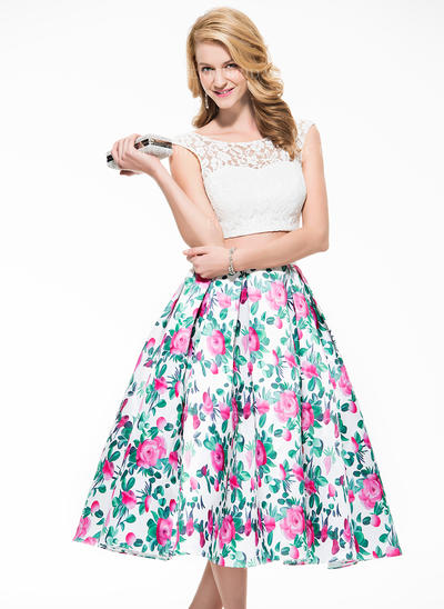 A-Line/Princess Lace Prom Dresses Scoop Neck Sleeveless Tea-Length (018076006)