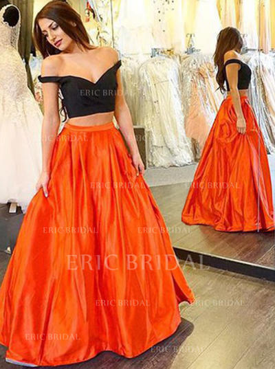 Ball-Gown V-neck Floor-Length Prom Dresses (018145998)
