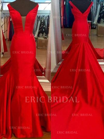 Trumpet/Mermaid Satin Prom Dresses V-neck Sleeveless Sweep Train (018210307)