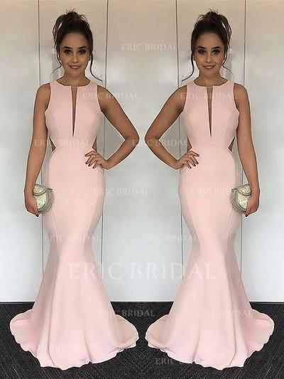 Trumpet/Mermaid Scoop Neck Sweep Train Prom Dresses With Ruffle (018210989)