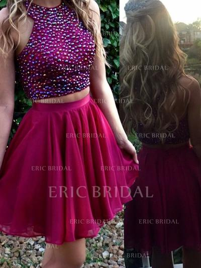 A-Line/Princess Scoop Neck Detachable Chiffon Homecoming Dresses With Beading (022212293)