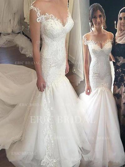 Newest Off-The-Shoulder Trumpet/Mermaid Wedding Dresses Chapel Train Tulle (002210863)