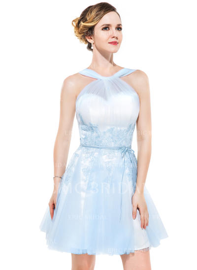 A-Line/Princess V-neck Short/Mini Tulle Homecoming Dresses With Ruffle Appliques Lace Bow(s) (022214006)