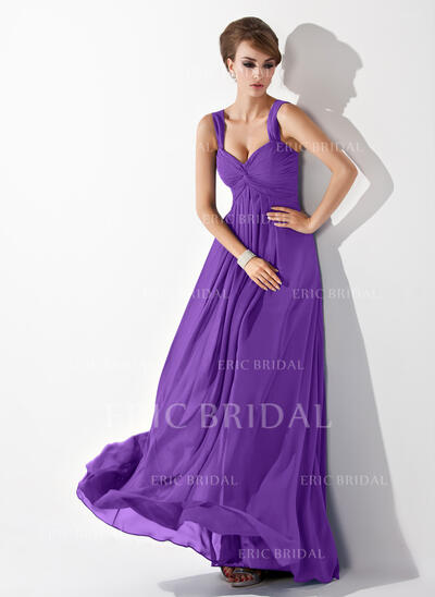Empire Sweetheart Floor-Length Chiffon Bridesmaid Dress With Ruffle (007063016)