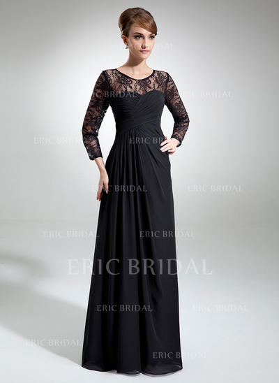 A-Line/Princess Chiffon Lace Long Sleeves Scoop Neck Floor-Length Zipper Up Mother of the Bride Dresses (008006103)