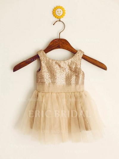 A-Line/Princess Scoop Neck Short/Mini With Pleated Tulle/Sequined Flower Girl Dresses (010212031)
