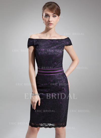 Sheath/Column Charmeuse Lace Sleeveless Off-the-Shoulder Knee-Length Zipper Up Mother of the Bride Dresses (008211222)