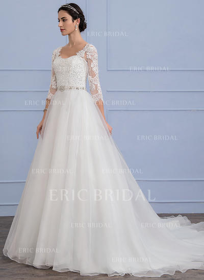 A-Line/Princess Chapel Train Organza Lace Wedding Dress With Beading Sequins (002106070)